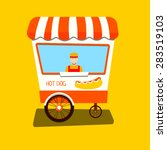 vendor hot dog. hot dog cart.... | Shutterstock .eps vector #283519103