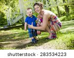 beautiful mother and little... | Shutterstock . vector #283534223