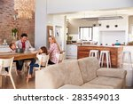 family mealtime at home   Shutterstock . vector #283549013