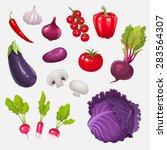 set of fresh vegetables. vector ...   Shutterstock .eps vector #283564307