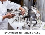 catering service. man with food | Shutterstock . vector #283567157