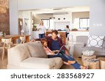 family spending time together... | Shutterstock . vector #283568927