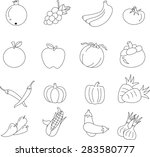 fruits and vegetables  icons. | Shutterstock . vector #283580777