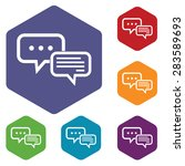 colored hexagon icons set with...