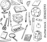 set of school objects  doodle... | Shutterstock .eps vector #283602593