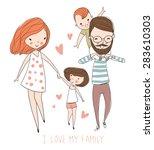 i love my family. cute vector... | Shutterstock .eps vector #283610303