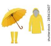yellow raincoat  rubber boots... | Shutterstock .eps vector #283612607