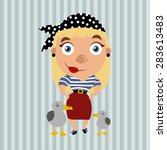 cartoon lady pirate. flat style.... | Shutterstock .eps vector #283613483