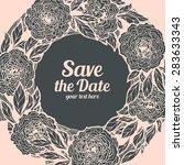 wreath of roses  peonies.... | Shutterstock .eps vector #283633343