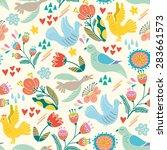 lovely pattern of birds and... | Shutterstock .eps vector #283661573