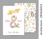 set of floral greeting cards... | Shutterstock .eps vector #283666013