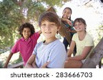 group of children hanging out... | Shutterstock . vector #283666703