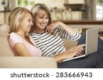 mother with teenage daughter... | Shutterstock . vector #283666943
