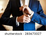 stylish handsome businessman on ... | Shutterstock . vector #283673327