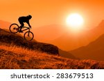 silhouette of downhill mountain ... | Shutterstock . vector #283679513