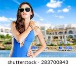 swimsuit  fashion  tan. | Shutterstock . vector #283700843