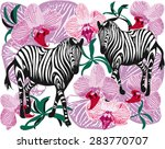 tropical zebra and orchid... | Shutterstock .eps vector #283770707