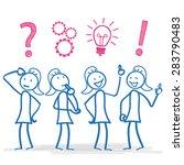 female stickmen during planning ...   Shutterstock .eps vector #283790483