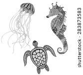 zentangle stylized black turtle ... | Shutterstock .eps vector #283873583
