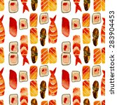 sushi seamless pattern  hand... | Shutterstock . vector #283904453