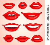 sexy lips illustration set | Shutterstock .eps vector #283952813