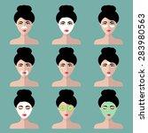 big vector set of women icons
