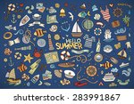 marine nautical hand drawn... | Shutterstock .eps vector #283991867