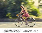 Motion Blur. Young Woman In A...