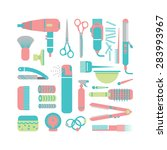 flat set hairdresser equipment | Shutterstock .eps vector #283993967