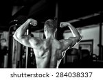 young adult man showing his... | Shutterstock . vector #284038337