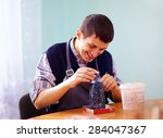 young adult man with disability ... | Shutterstock . vector #284047367