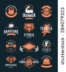set of retro styled fitness... | Shutterstock .eps vector #284079323