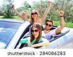 three friends in cabriolet ... | Shutterstock . vector #284086283