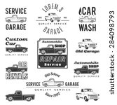 set of car service labels ... | Shutterstock .eps vector #284098793