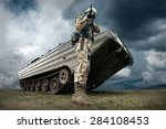 Military Tank And Soldier...