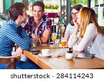 group of young people sitting... | Shutterstock . vector #284114243