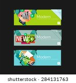 set of banners with stickers ... | Shutterstock .eps vector #284131763