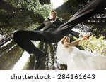 funny stylish young bride and... | Shutterstock . vector #284161643