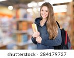 woman  book  studying. | Shutterstock . vector #284179727