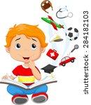 little boy a million dreams | Shutterstock .eps vector #284182103