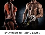 strong young couple working out ... | Shutterstock . vector #284212253