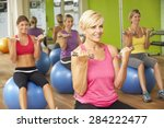 women taking part in gym... | Shutterstock . vector #284222477