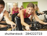 group taking part in spinning... | Shutterstock . vector #284222723