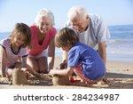 grandparents and grandchildren... | Shutterstock . vector #284234987