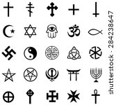 vector set of black religious... | Shutterstock .eps vector #284238647