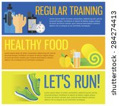 sport and healthy eating banner