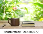 notebook  and coffee in brown... | Shutterstock . vector #284280377