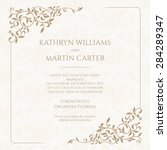 invitation card with floral... | Shutterstock .eps vector #284289347