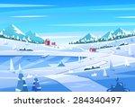 Winter Landscape. Vector Desig...