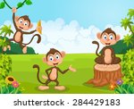 cartoon illustration monkey...